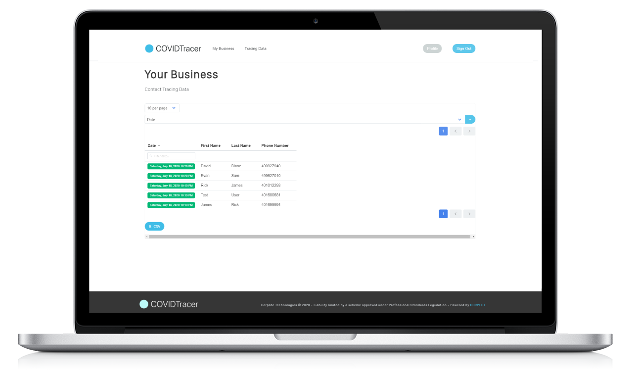 COVIDTracer - Free Contact Tracing For Businesses